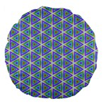 Colorful Retro Geometric Pattern Large 18  Premium Flano Round Cushions Back