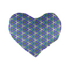 Colorful Retro Geometric Pattern Standard 16  Premium Flano Heart Shape Cushions