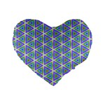 Colorful Retro Geometric Pattern Standard 16  Premium Flano Heart Shape Cushions Front