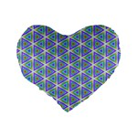 Colorful Retro Geometric Pattern Standard 16  Premium Flano Heart Shape Cushions Back