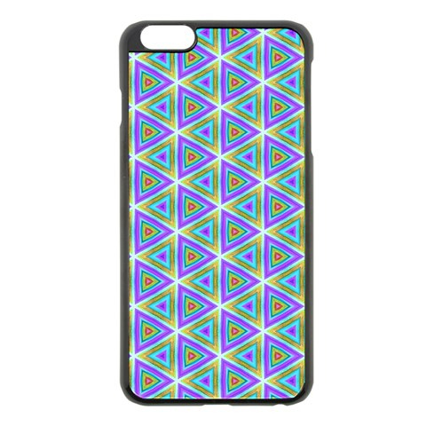 Colorful Retro Geometric Pattern Apple iPhone 6 Plus/6S Plus Black Enamel Case