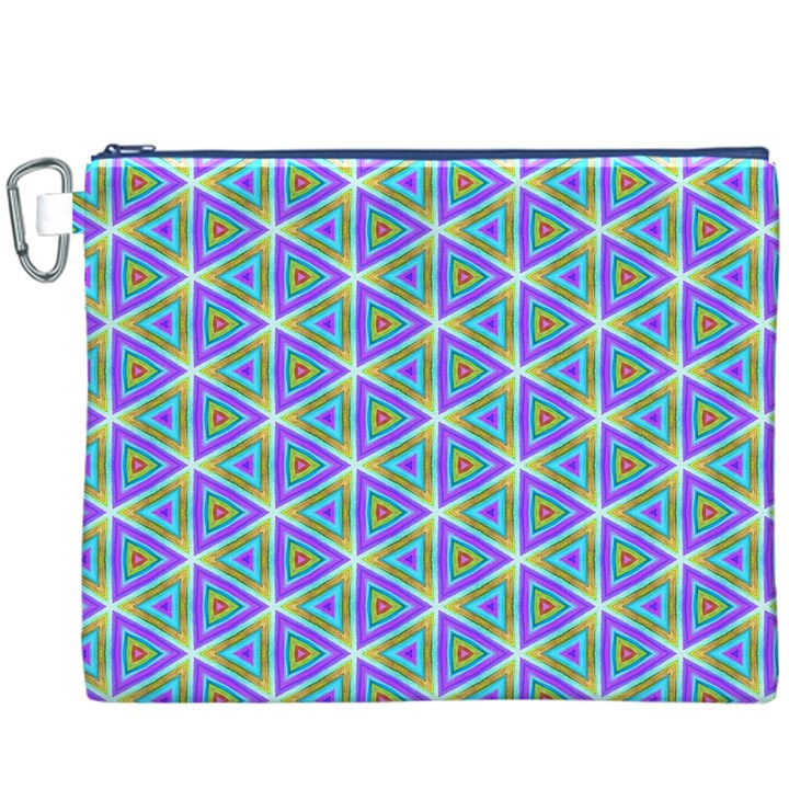 Colorful Retro Geometric Pattern Canvas Cosmetic Bag (XXXL)