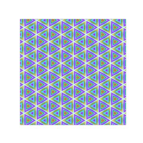 Colorful Retro Geometric Pattern Small Satin Scarf (Square)