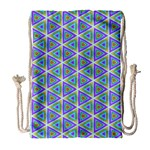 Colorful Retro Geometric Pattern Drawstring Bag (Large) Front