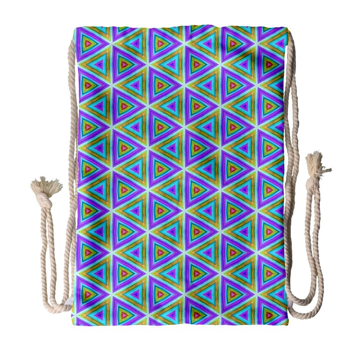 Colorful Retro Geometric Pattern Drawstring Bag (Large)