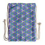 Colorful Retro Geometric Pattern Drawstring Bag (Large) Back