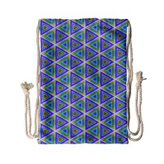 Colorful Retro Geometric Pattern Drawstring Bag (small)