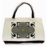 Black And White Ornamental Flower Basic Tote Bag Front