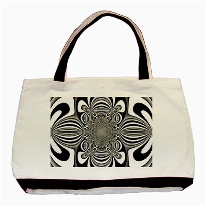 Black And White Ornamental Flower Basic Tote Bag