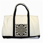 Black And White Ornamental Flower Two Tone Tote Bag Front
