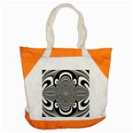 Black And White Ornamental Flower Accent Tote Bag Front