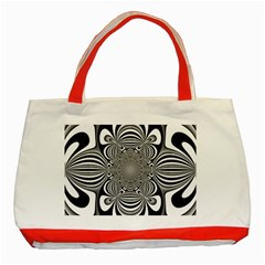 Black And White Ornamental Flower Classic Tote Bag (red)