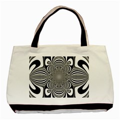 Black And White Ornamental Flower Basic Tote Bag (Two Sides)