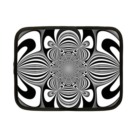 Black And White Ornamental Flower Netbook Case (Small)