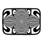 Black And White Ornamental Flower Netbook Case (Medium)  Front
