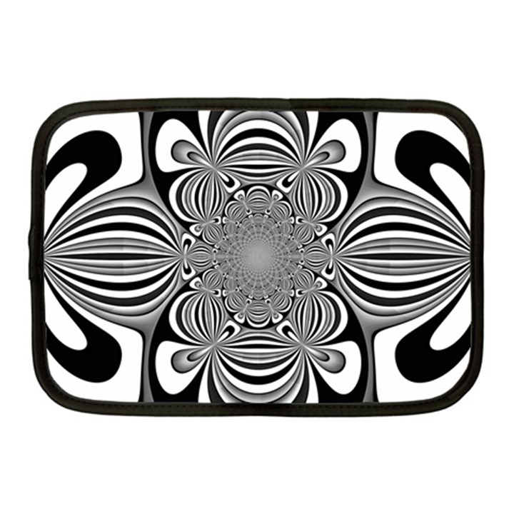 Black And White Ornamental Flower Netbook Case (Medium)