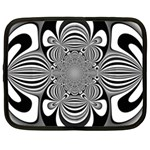 Black And White Ornamental Flower Netbook Case (Large) Front