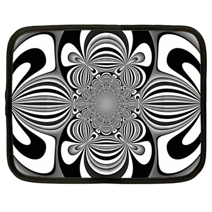 Black And White Ornamental Flower Netbook Case (Large)