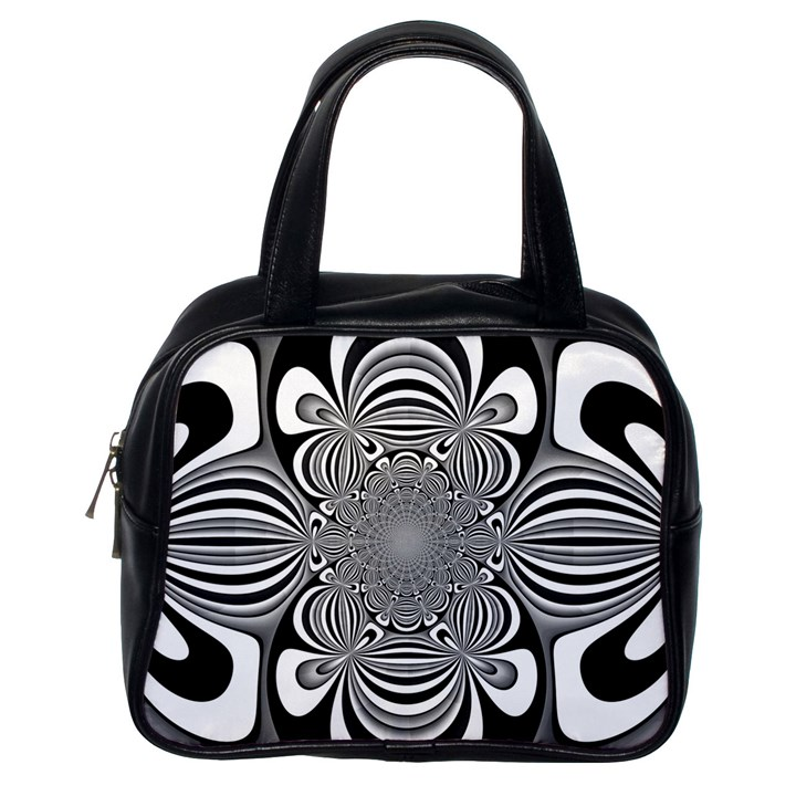 Black And White Ornamental Flower Classic Handbags (One Side)