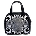 Black And White Ornamental Flower Classic Handbags (2 Sides) Front