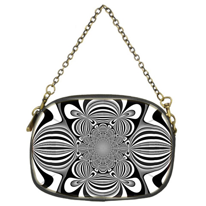 Black And White Ornamental Flower Chain Purses (One Side)
