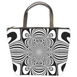 Black And White Ornamental Flower Bucket Bags Front