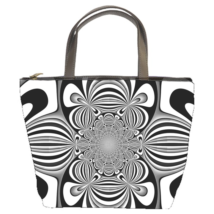 Black And White Ornamental Flower Bucket Bags