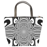 Black And White Ornamental Flower Bucket Bags Back