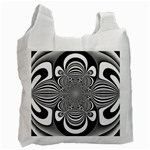 Black And White Ornamental Flower Recycle Bag (Two Side)  Front