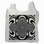 Black And White Ornamental Flower Recycle Bag (Two Side)  Back