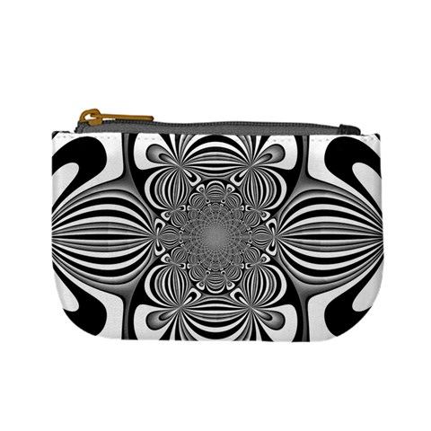 Black And White Ornamental Flower Mini Coin Purses