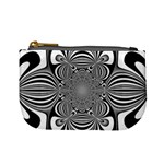 Black And White Ornamental Flower Mini Coin Purses Front