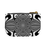 Black And White Ornamental Flower Mini Coin Purses Back