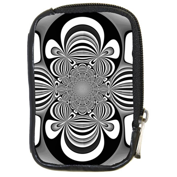 Black And White Ornamental Flower Compact Camera Cases