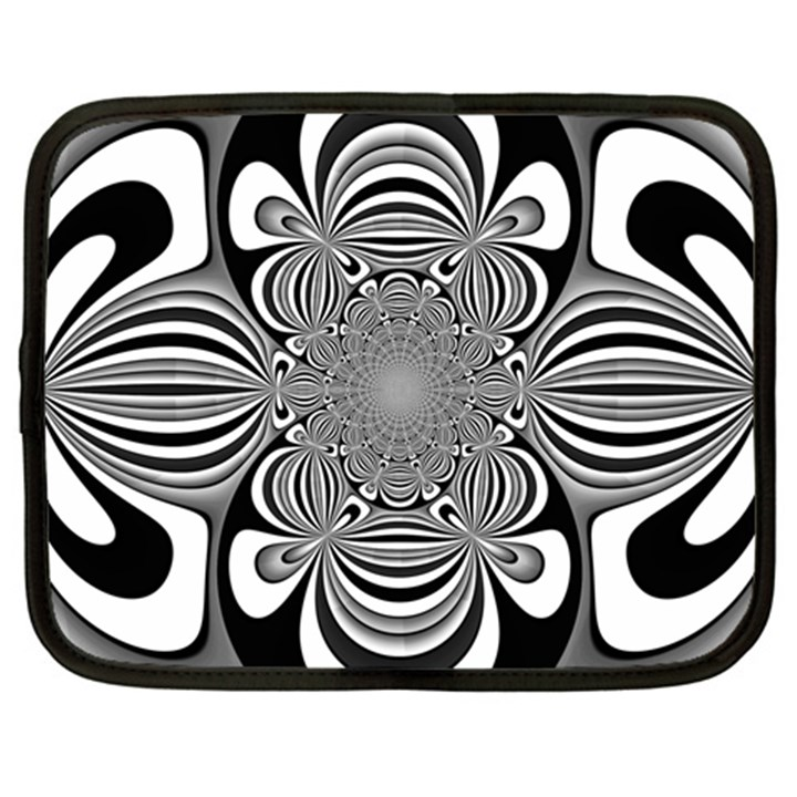 Black And White Ornamental Flower Netbook Case (XL)