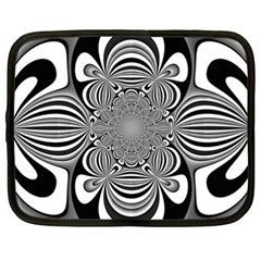 Black And White Ornamental Flower Netbook Case (xxl)