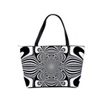 Black And White Ornamental Flower Shoulder Handbags Back