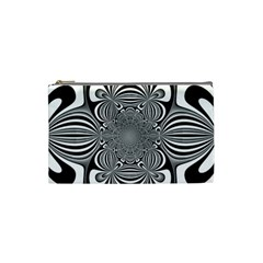 Black And White Ornamental Flower Cosmetic Bag (small)