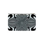 Black And White Ornamental Flower Cosmetic Bag (Small)  Back