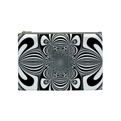 Black And White Ornamental Flower Cosmetic Bag (medium)