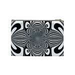 Black And White Ornamental Flower Cosmetic Bag (Medium)  Back