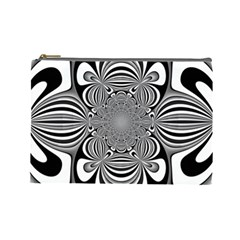 Black And White Ornamental Flower Cosmetic Bag (Large)