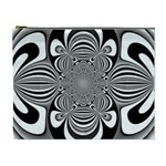 Black And White Ornamental Flower Cosmetic Bag (XL) Front