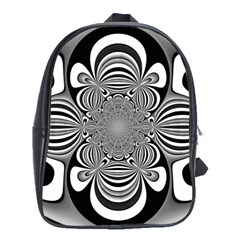 Black And White Ornamental Flower School Bags(Large)