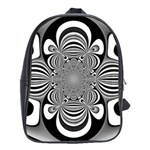 Black And White Ornamental Flower School Bags(Large)  Front