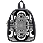 Black And White Ornamental Flower School Bags (Small)  Front