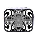 Black And White Ornamental Flower Mini Toiletries Bags Front