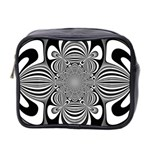 Black And White Ornamental Flower Mini Toiletries Bag 2-Side Front
