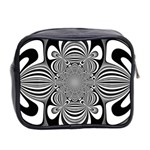 Black And White Ornamental Flower Mini Toiletries Bag 2-Side Back
