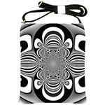 Black And White Ornamental Flower Shoulder Sling Bags Front